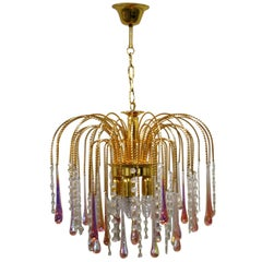 Vintage Brass Teardrop Chandelier with Pink Crystal Murano Glass, 1960s