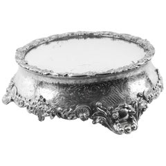 Antique English Silver Plated Mirrored Top Cake Stand, 19th Century