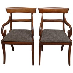 Pair of Regency Carver Chairs in Mahogany