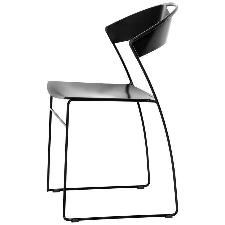 Baleri Italia Juliette Stackable Chair in Black Steel by Hannes Wettstein