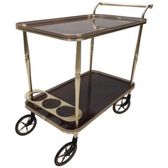 Brass Neoclassical Serving Trolley Bar Cart, 1960s