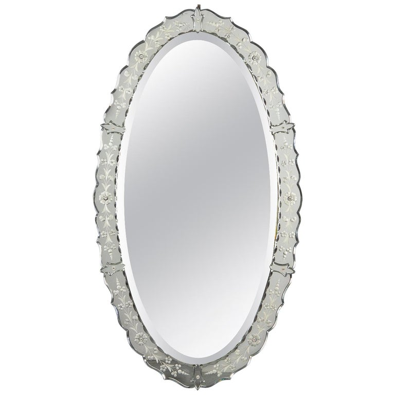 French Midcentury Oval Venetian Glass Mirror