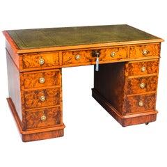 Antique Victorian Burr Walnut Pedestal Desk, 19th Century