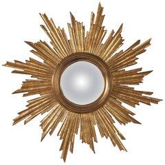 Midcentury French Giltwood Convex Sunburst Mirror, 1950s