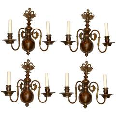 Set of 4 Patinated Bronze Dutch Sconces