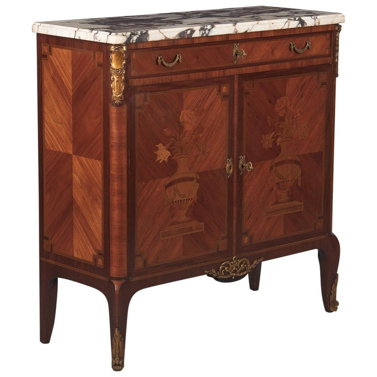 French Transition Style Marquetry Sideboard with Marble Top, 1900s