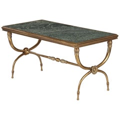 French Midcentury Brass and Marble Coffe Table by Raymond Subes