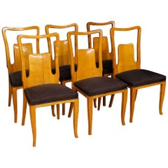 Ico Parisi 20th Century Wood and Fabric Italian Design 6 Chairs, 1950