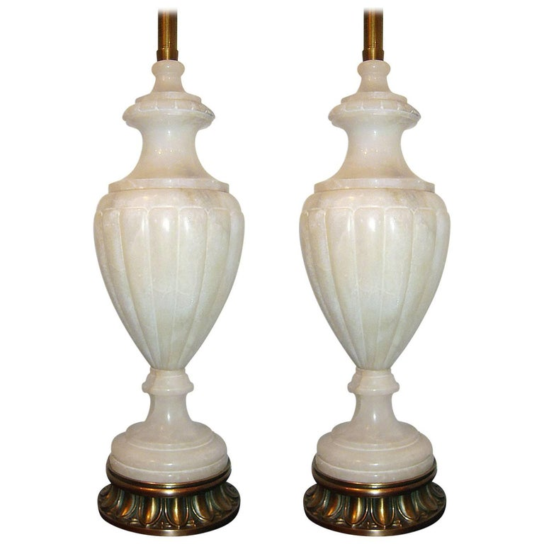 Large Neoclassic Alabaster Lamps