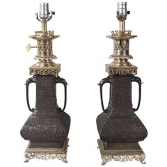 Pair of Japanese Bronze Vases, Mounted as Lamps
