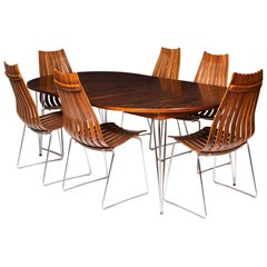 Rosewood Dining Table and 6 Dining Chairs by Hans Brattrud, Norway, circa 1957
