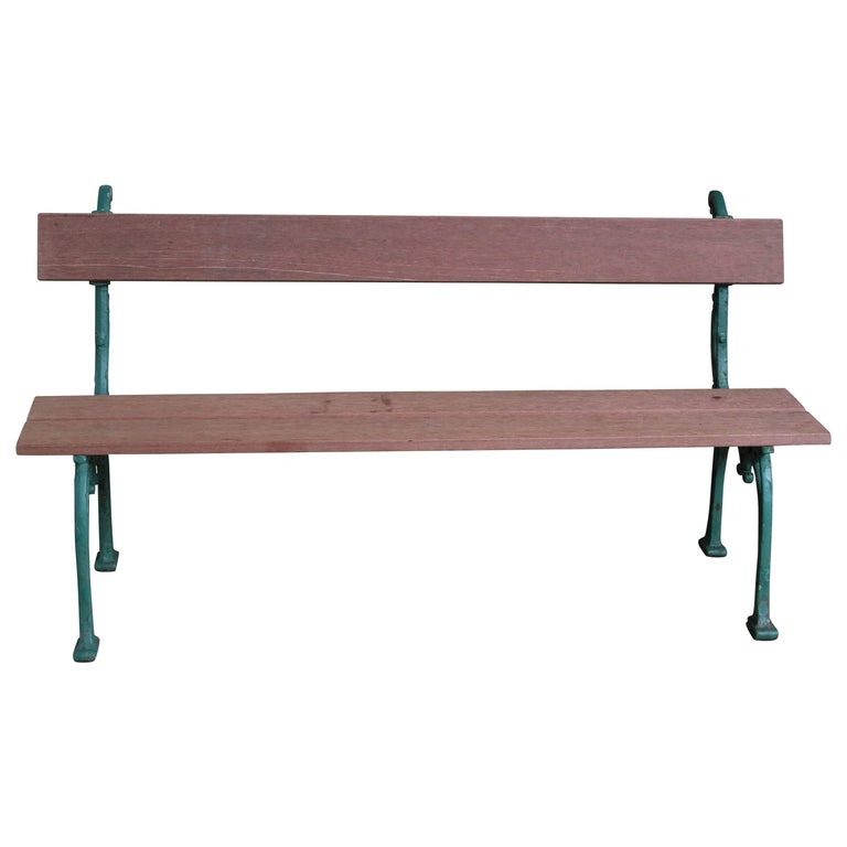 French Garden Bench with Mahogany Wood For Sale