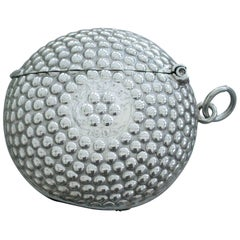 George V Novelty Silver Beaded Golf Ball Vesta Case, Henry William Sparrow, 1920