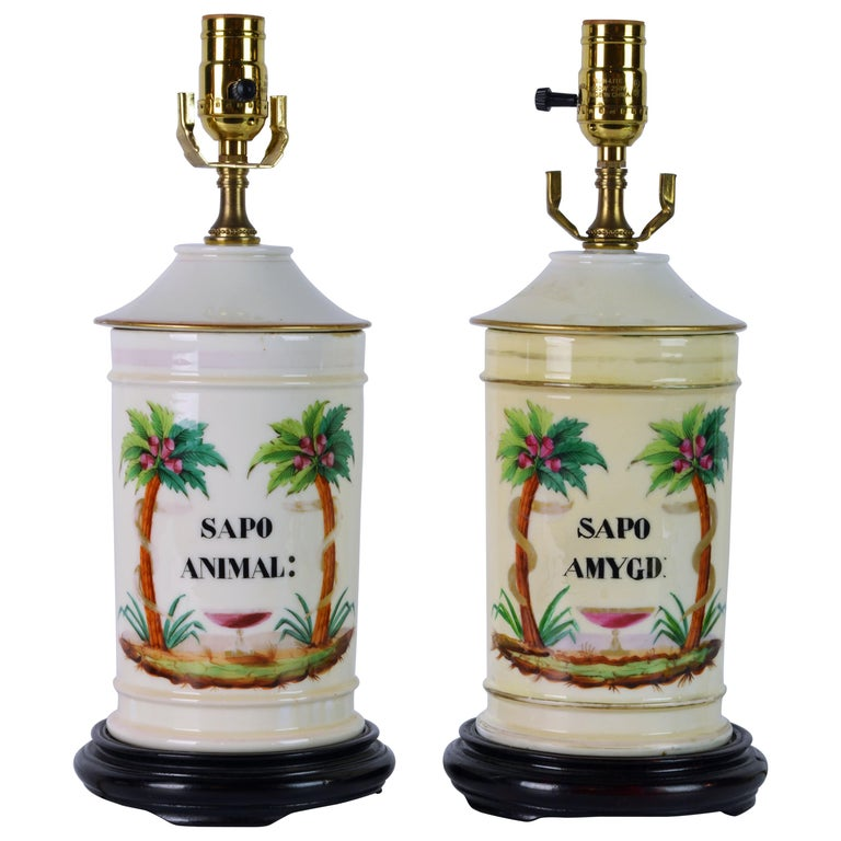 Pair of 19th Century Old Paris Tropical Themed Apothecary Jars Table Lamps For Sale