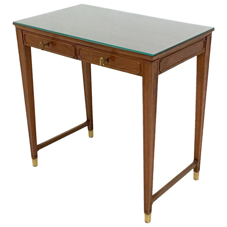 Mahogany and Crystal Bedroom Writing Desk in the Style of Gio Ponti, Italy 1950s