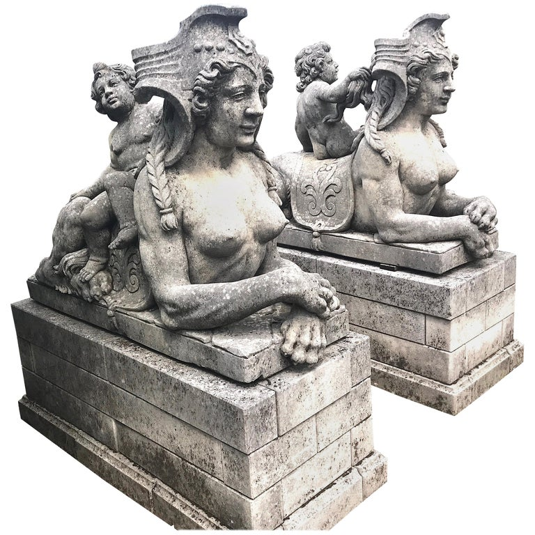 Pair of Exceptional Italian Sphinx Limestone Statues For Sale