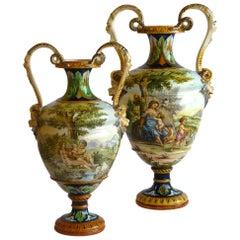 Ginori Pair of 19th Century Italian Renaissance Style Majolica Vases