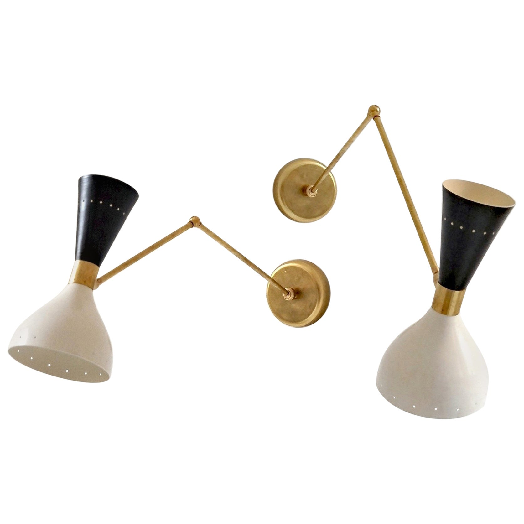 Articulated Sconce Mid-Century Modern Stilnovo Style Solid Brass Black and White