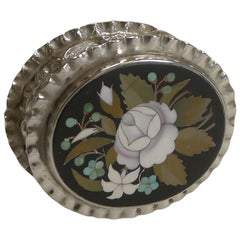 English Sterling Silver Pill Box Inlaid With Italian Pietra Dura, 1900