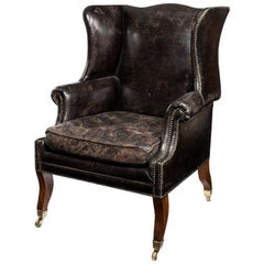 Unusual Regency Mahogany Sabre Leg Armchair