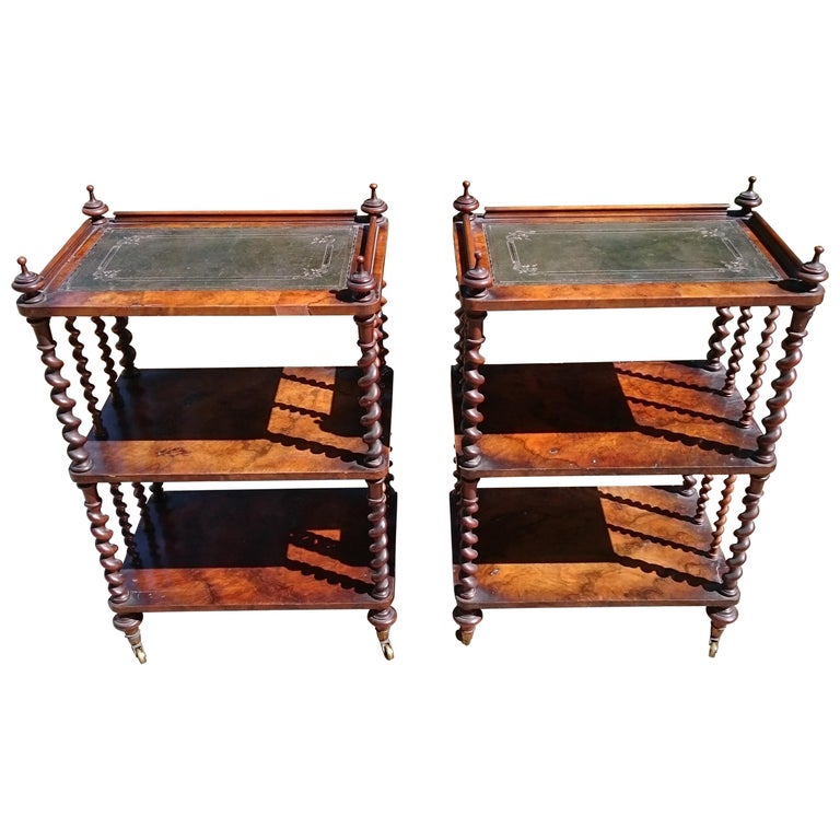 Pair of Antique Victorian Period Antique Whatnots by Howard and Sons of London For Sale
