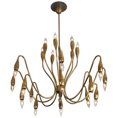1950s Italian Brass Chandelier Attributed to Angelo Lelli for Arredoluce