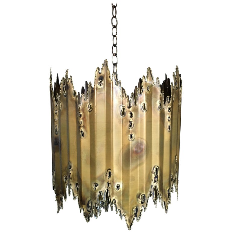 Tom Greene for Feldman Brutalist Torch Cut Chandelier