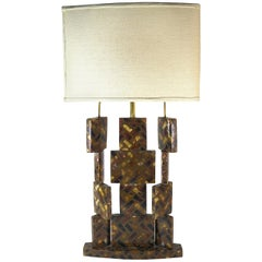 R & Y Augousti Horn Inlay Table Lamp-Movable Sections Create Light Interplay