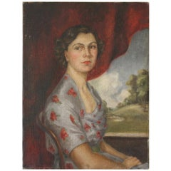 Mid-20th Century Unframed Oil on Canvas Portrait by Lydia de Burgh