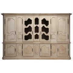 Antique French Bookcase or Cabinet in Limed White Oak and over