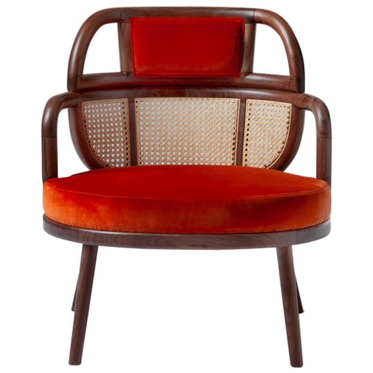 Havana Rattan Armchair, Contemporary Bohemian Style Velvet Lounge Chair For Sale