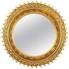 Francisco Hurtado Gold Leaf Gilt Large Sunburst Mirror, Spain, 1970