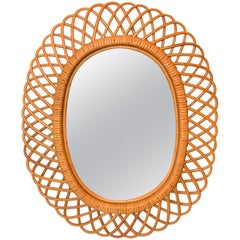 Handcrafted Vintage Oval Bent Rattan Mirror
