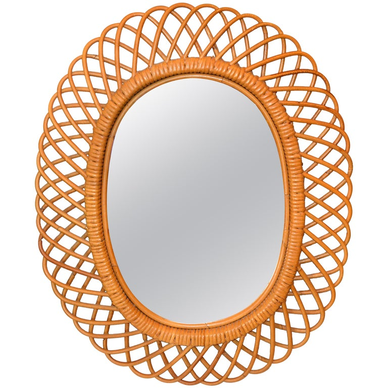 Handcrafted Vintage Oval Bent Rattan Mirror For Sale
