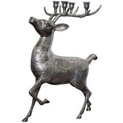 Rare Ornately Cast Large Silver Plated Candle Stick Holder Reindeer Candelabra