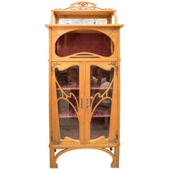 Art Nouveau French Oak Display Cabinet with Gold Brass Mouthpiece and Hinges