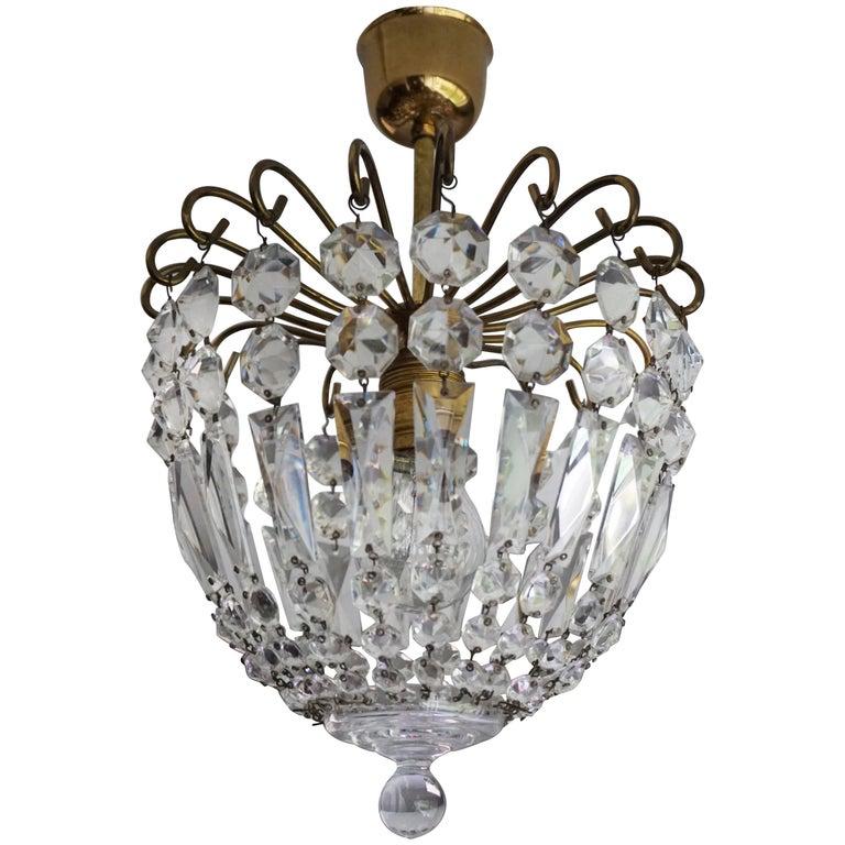 Stylish Little Mid Century Brass and Crystal Glass Murano Pendant Light Fixture