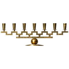 Lars Holmström Candlestick in Brass Produced in His Own Workshop in Arvika