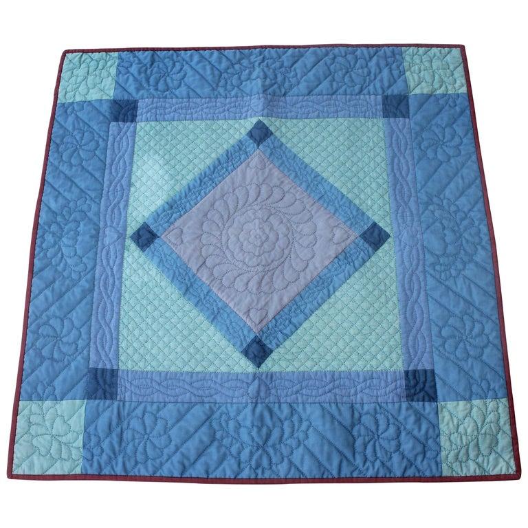 Antique Quilt, Amish  Diamond in a Square Crib Quilt