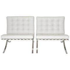 Pair of Knoll Barcelona Lounge Chairs in White Sabrina Leather Circa 1997