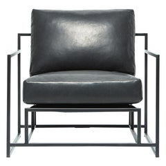 Black Leather and Blackened Steel Armchair