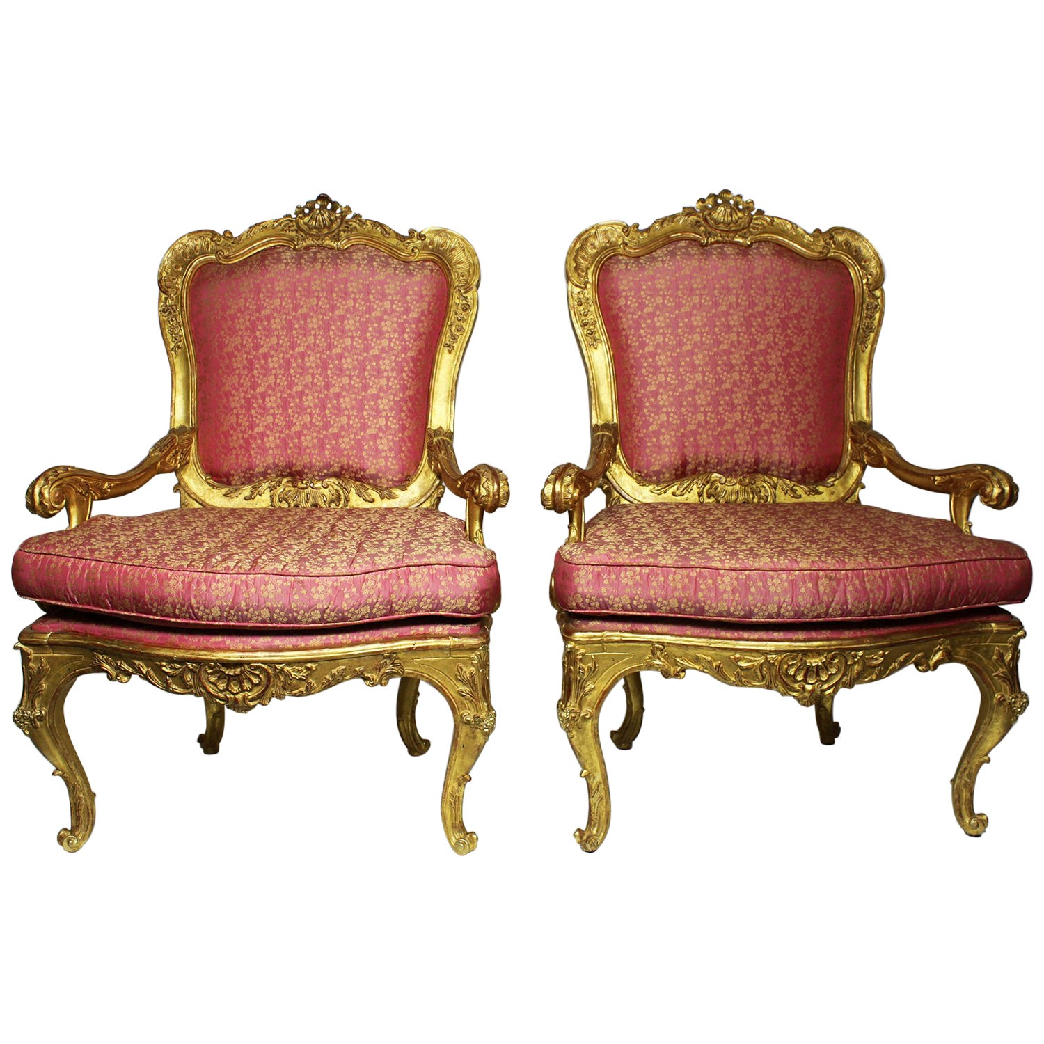 Pair of Italian Venetian Rococo Revival Style Giltwood Carved Throne Armchairs