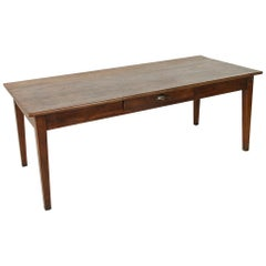 French Artisan, Made Oak Farm Table or Dining Table with Drawer, circa 1900