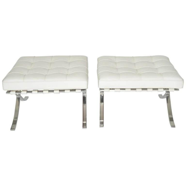Pair of Knoll Barcelona Stools Ottomans in White Sabrina Leather, circa 1997