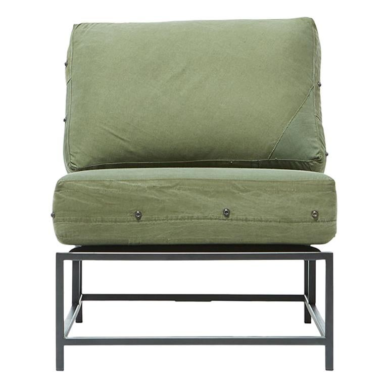 Vintage Military Canvas and Blackened Steel Chair