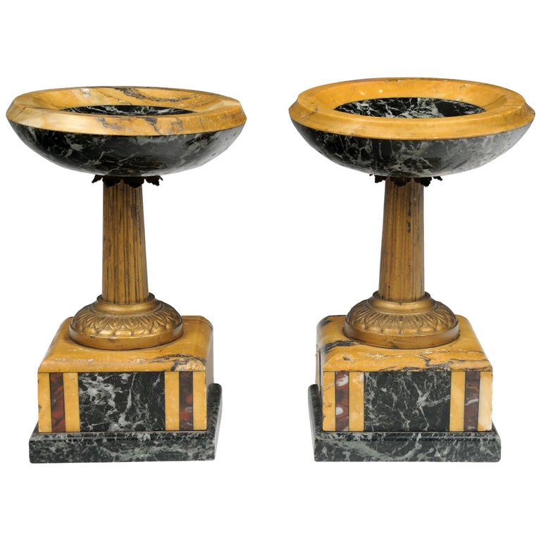 19th Century Pair of French Marble Garniture Tazzas Compotes 1