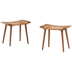 Pair of Stools in Oak and Woven Cane Produced in Denmark