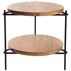 "Modern Brazilian Side Table in Solid Wood and Steel, ""Janice"" by Samuel Lamas"