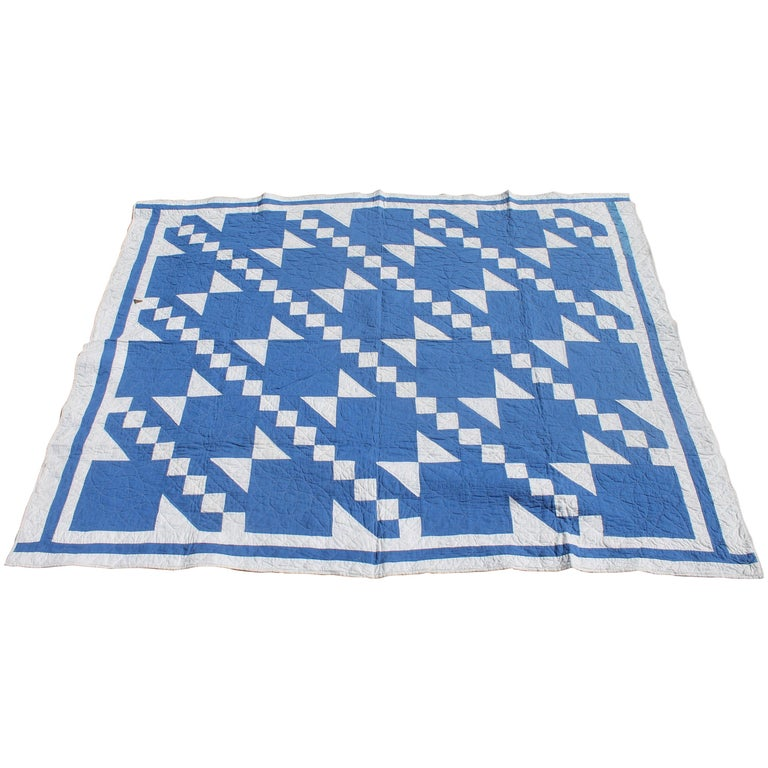 Antique Quilt-French Blue and White Geometric Quilt For Sale