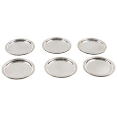 Jezler Switzerland Modernist Barware Serving Sterling Silver Coaster, Set of Six
